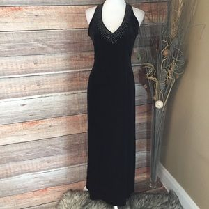 VELOUR BEADED FORMAL FULL LENGTH DRESS